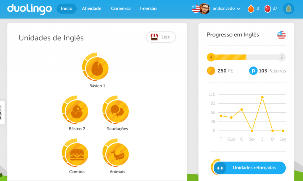 Interface do Duolingo (site)